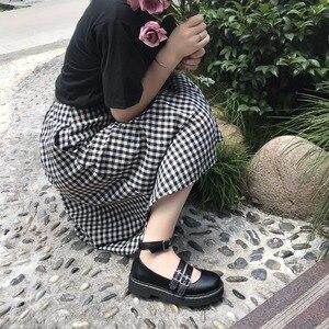Image 4 - 로리타 신발 Uwabaki JK 라운드 발가락 버클 스트랩 레이스 업 일본 학교 학생 제복 드레스 여자 블랙 귀여운 로우 컷 펌프