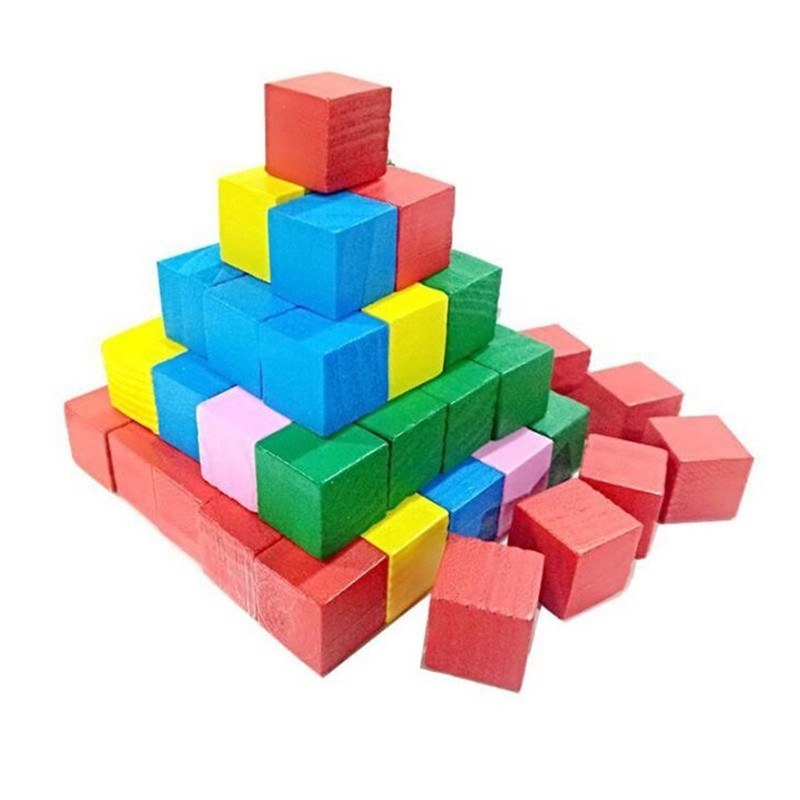 20pcs New Montessori Colorful Wood Cube Blocks Bright Assemblage Block Early Educational Early Learning Toys For Kids Children