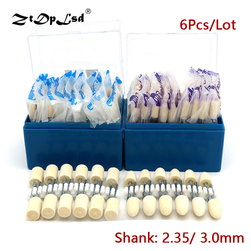 6Pcs Wool Soft Polishing Grinding Head Nail Art Drill Bit Electric Machine Manicure Rotary Burrs Milling Felt Mounted Buff Wheel