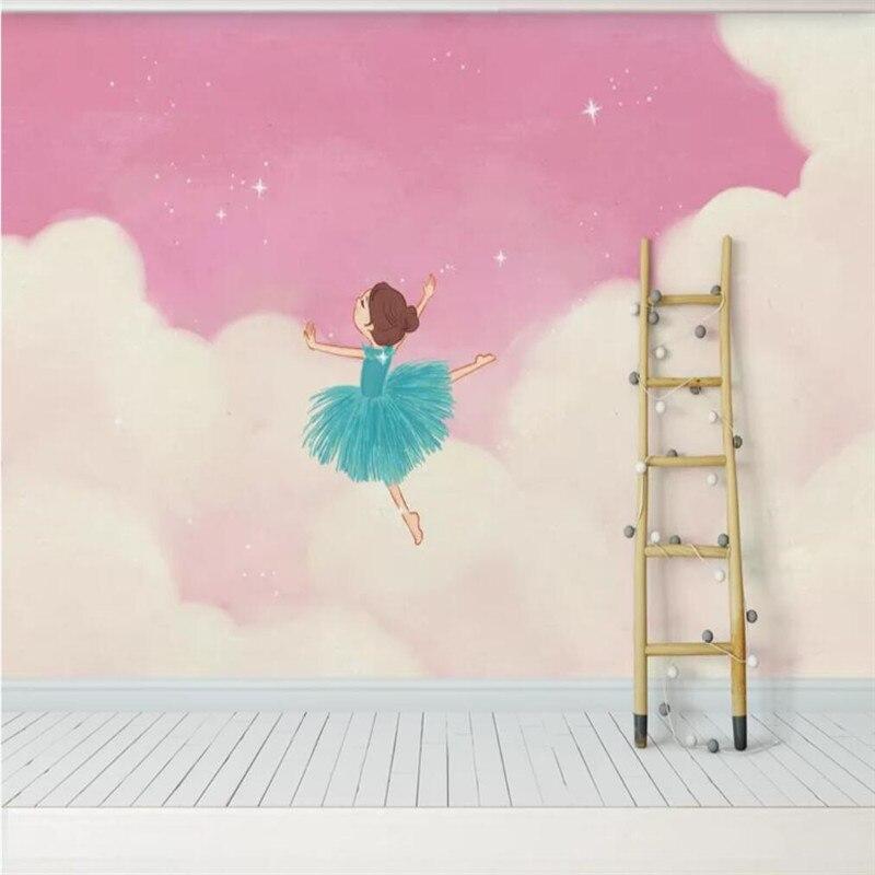 papier-peint-personnalise-font-b-ballet-b-font-en-nuage-rose-decoration-murale-pour-chambre-de-princesse-de-fille-materiau-etanche-de-haute-qualite-pour-enfants