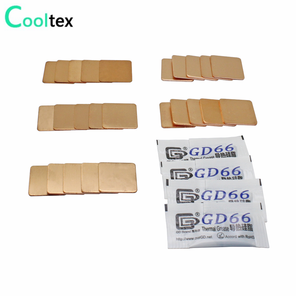 25pcs 5models 20mm X 20mm DIY Copper Shim Heatsink Thermal Pad For Laptop GPU CPU Chip Copper Sheet Cooling
