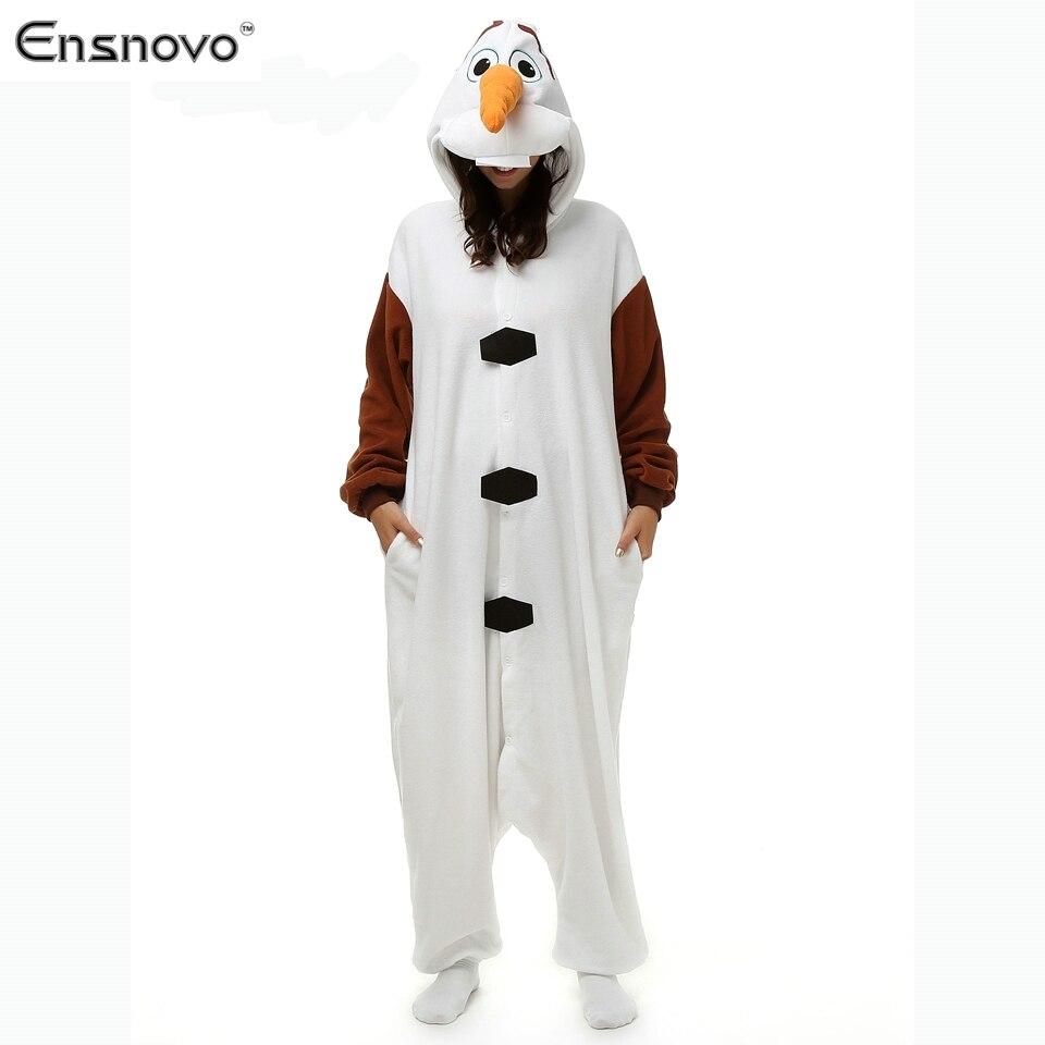 Ensnovo Olaf Character  Cosplay Adult Unisex 2015 New Winter Fleece Hoodie Cute Cartoon Animal Onesie Pajamas Snowman