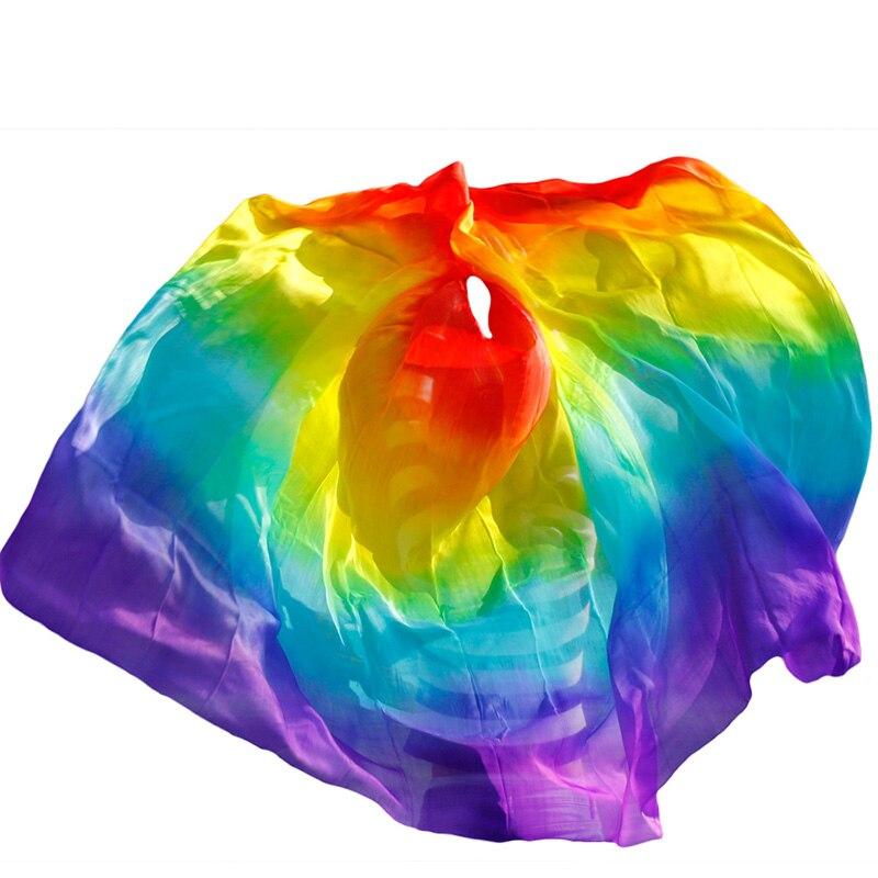 Design 100% véu de dança do ventre de seda real, véus de dança baratos, tari perut kostum véu atacado 250 270*114cm cores do arco-íris