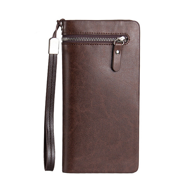 Fashion men long purse with wristband pu leather solid color fashion men long purse with wristband pu leather solid color business card holder zipped clutch money reheart Image collections