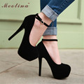 Meotina Large Size 34-43 Women Shoes Sexy Extreme High Heels Platform Shoes Pumps Ankle Strap Party Shoes High Quality Black Red