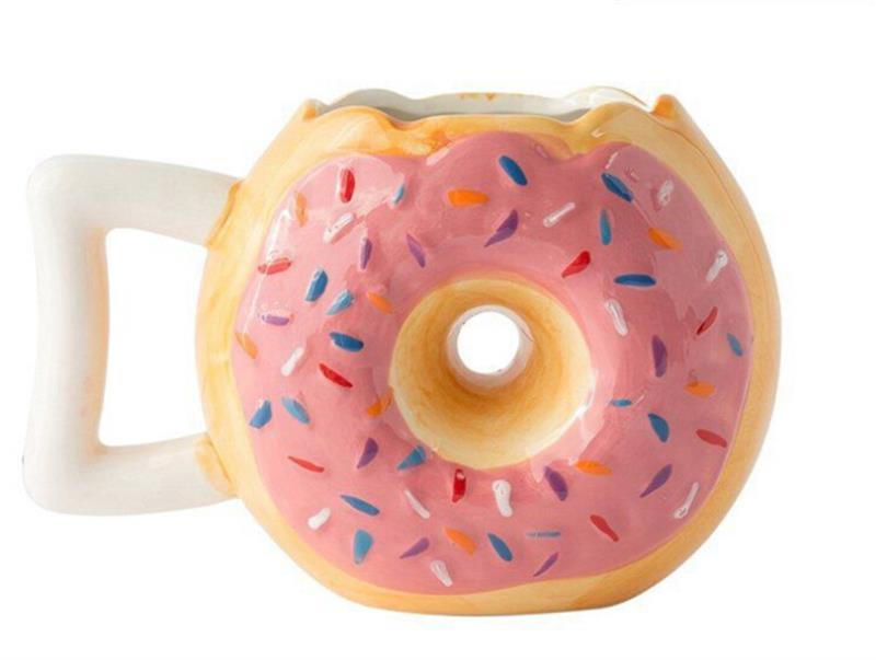 1 PC 400ML Hot Donut Ceramic Cup Mugs Creative Doughnut Coff