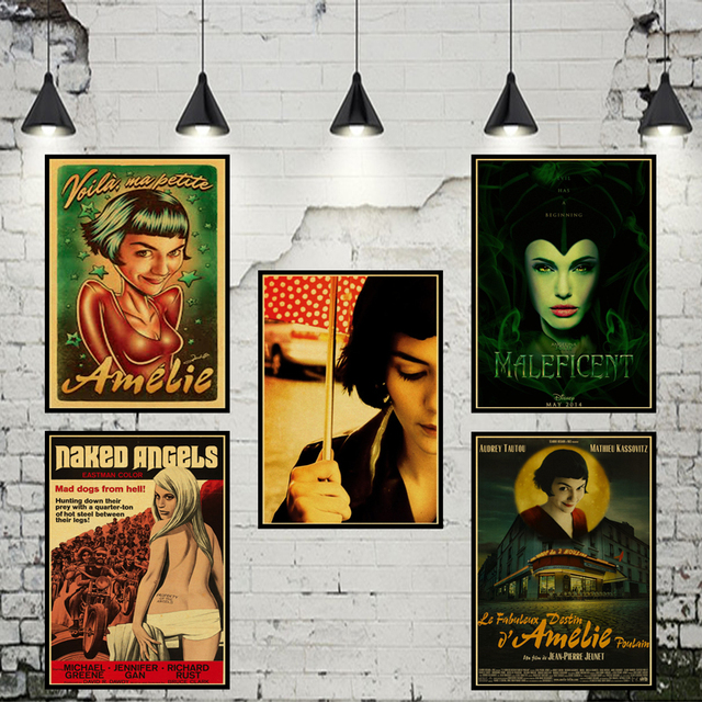 Classic Movie Amelie Poster Retro Kraft WallPaper Bar Cafe Living Room Wall Decorative Paintings Vintage