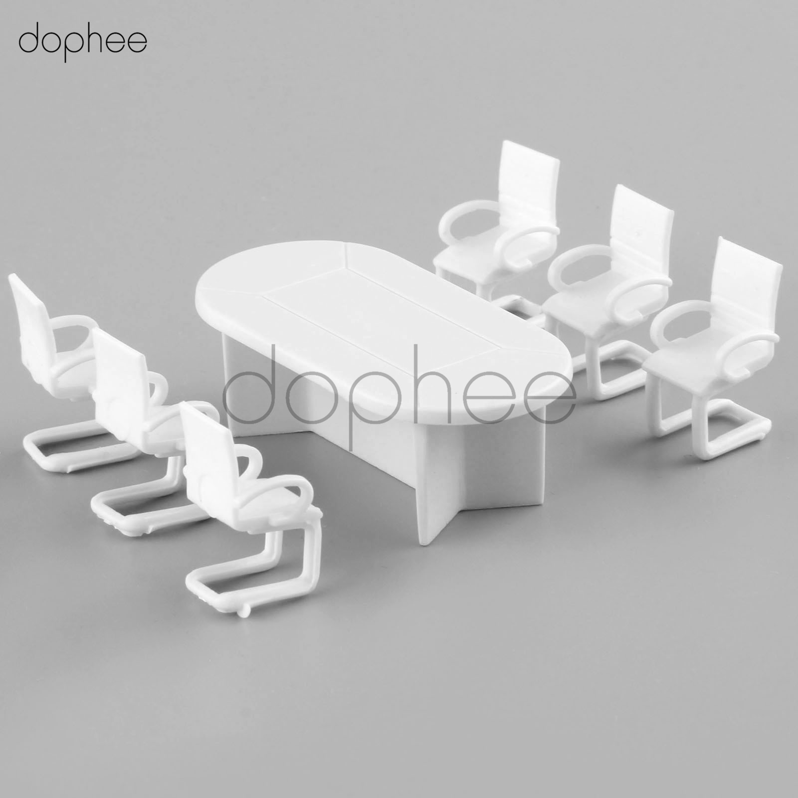 dophee 1sets White Plastic Dining Table Chair Model 1:50 Barbie Dollhouse Furniture