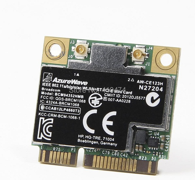 SSEA livraison gratuite nouveau pour HP Broadcom demi MINI PCI-E 802.11AC Wlan Wifi + Bluetooth 4.0 carte sans fil PSP 724935-001