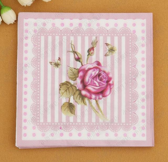 Free shipping 1000pcs flower paper napkin rose festive party free shipping 1000pcs flower paper napkin rose festive party tissue napkins decoupage decoration paper 33cm33cm many designs in disposable party mightylinksfo