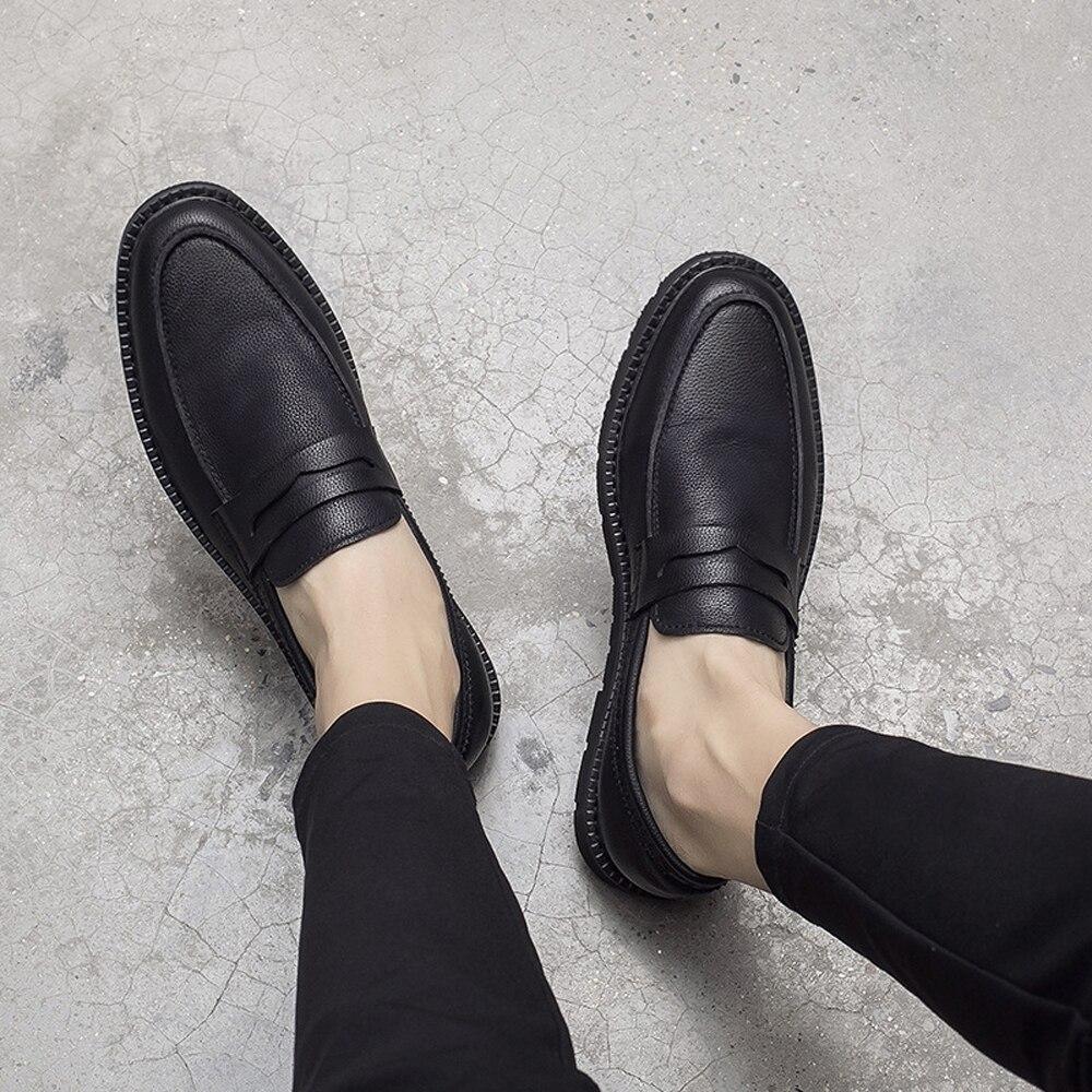 Véritable De Qffaz 02 Plat Occasionnels Black With Hommes Black Fur Marche Printemps Black Mocassins 01 Homme Slip 01 Fur 02 Luxe Sur En Chaussures Noir Cuir Y9WIEHD2