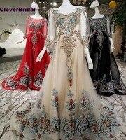 CloverBridal red black light champagne luxury stunning rhinestones gemstone drill indian gown dresses A line three quarter