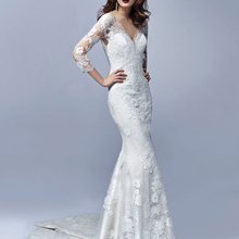 V-neck Mermaid Wedding Dresses Bride Dress Court Train