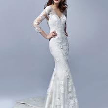V-neck Mermaid Wedding Dresses Bride Dress Court Train