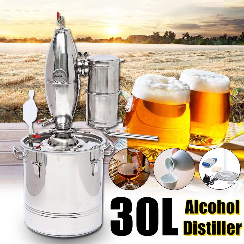 Durable 30L DIY Home Distiller Moonshine Alcohol Stainless Copper Water Wine Essential Oil Brewing KitDurable 30L DIY Home Distiller Moonshine Alcohol Stainless Copper Water Wine Essential Oil Brewing Kit