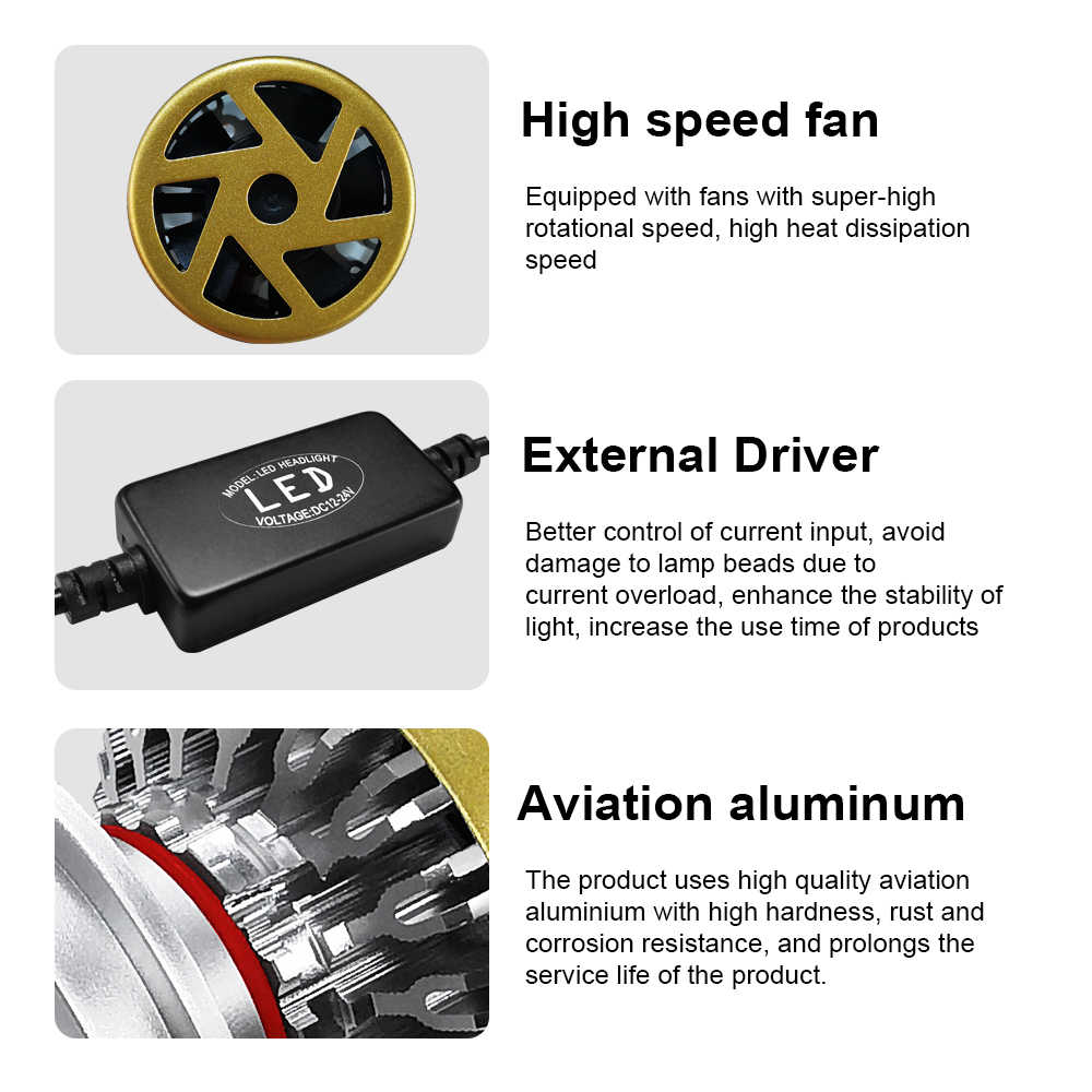 H7 LED H4 H1 HB2 HB3 9003 H8 H9 H11 9005 LED Car Headlight Light 12V Free Switch in 3000K 4300K 6000K Auto Lamp Low Bi Beam