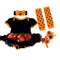 Newborn Festival Baby Girls Outfits Ruffles short sleeve Girls Romper Headband 4PCS My First Halloween Baby Clothes