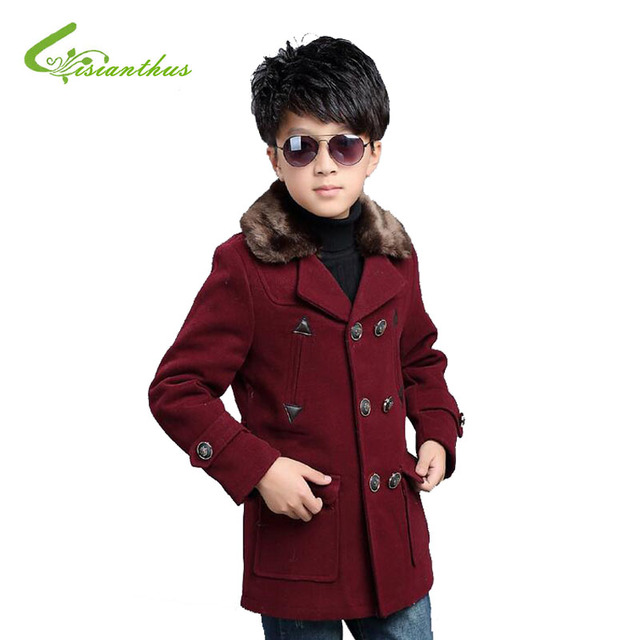 Thickening High-grade Children Woolen Coat  Boy's Double-breasted Warm Overcoat comfortable Plush Lapel 2016 Autumn and Winter