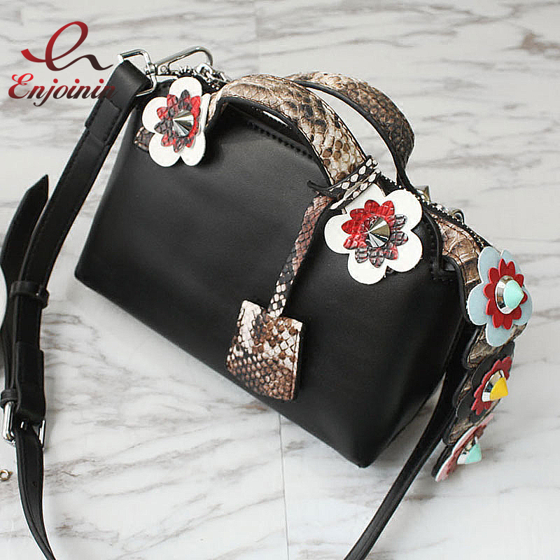 New Good quality fashion rivet spell color flowers snakeskin pattern pu leather mini shoulder bag ladies