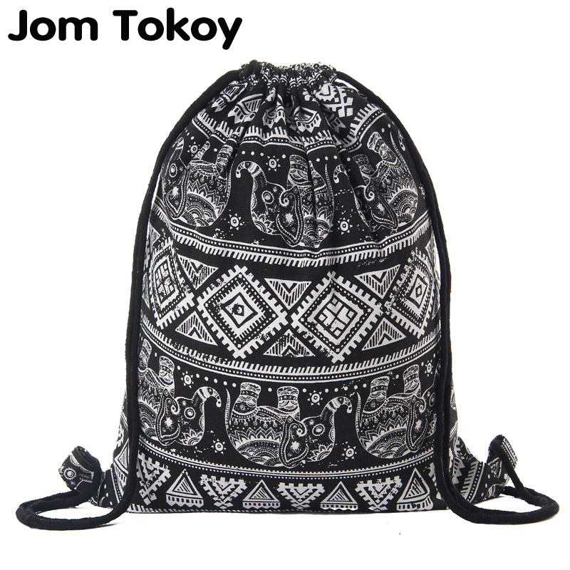 Women Canvas Drawstring bag printing Vintage College Students School Drawstring Bagpack Girls Mochila Feminina  Sack Bags