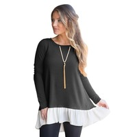 Harajuku Tees Women Solid Color Long Sleeve Loose Trim Casual Patchwork Round Neck Tunic T Shirt