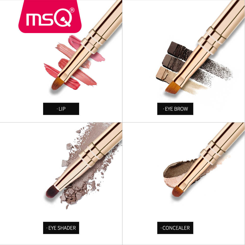 MSQ Single Makeup Brush Lip Eyeshadow Eyebrow Multi-Function Four In One Make Up Brush Synthetic Hair Double Head Makeup Brushes