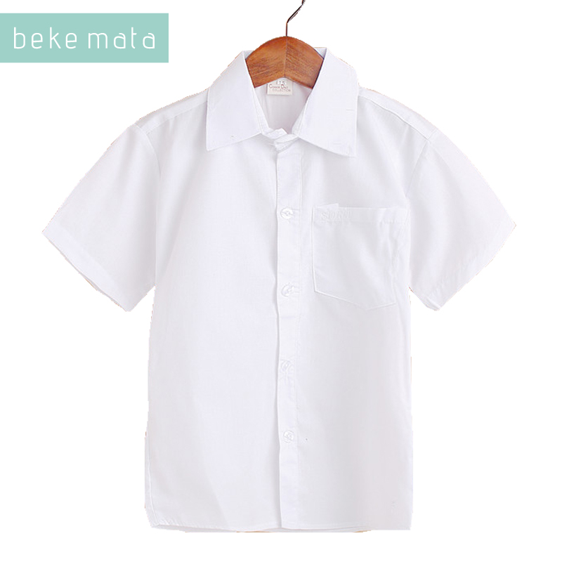 BEKE MATA School   Shirts   For Boys Summer 2018 Short-sleeve White Kids Boys   Shirts   And   Blouses   Solid Cotton Children Clothes 5-13Y