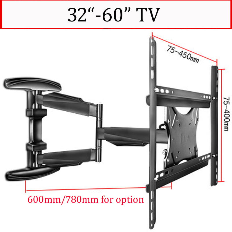 DL WA8 45KG 30 60 3 arm retractable full motion lcd tv wall mounted Bracket 600mm 780mm ultra slim with cable cover 400x400