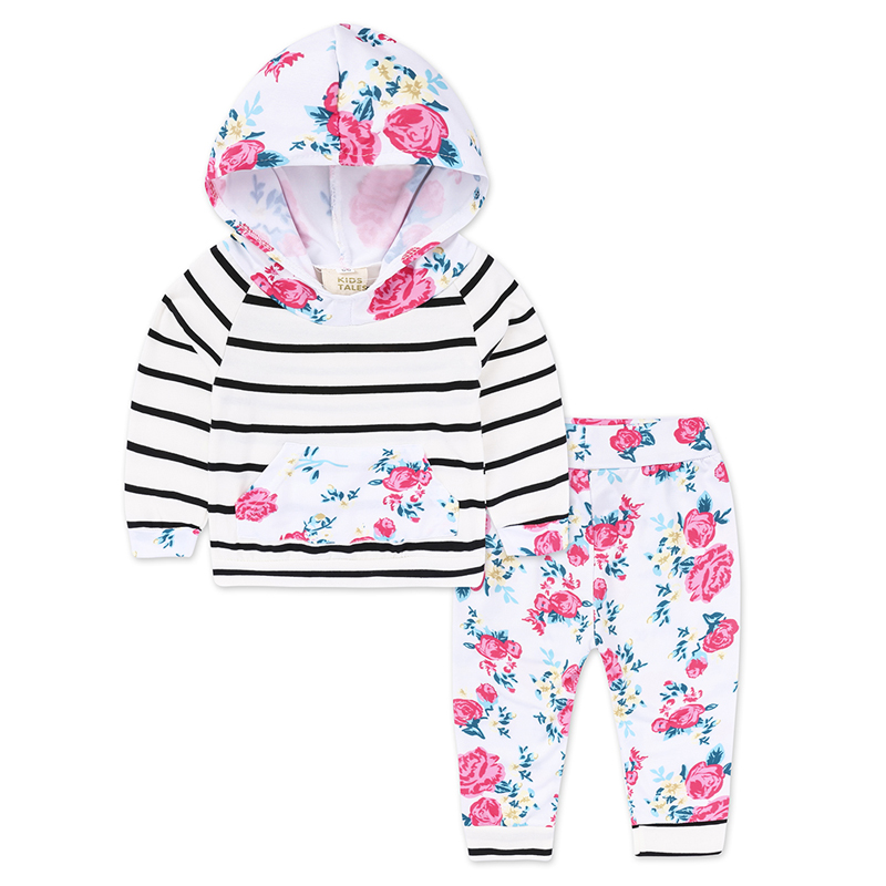 Spring Autumn Baby Girl Clothes Set Fashion Newborn Clothes Cotton Long Sleeve Hooded Tops+Stripe Pants Baby Boys Girls Clothing