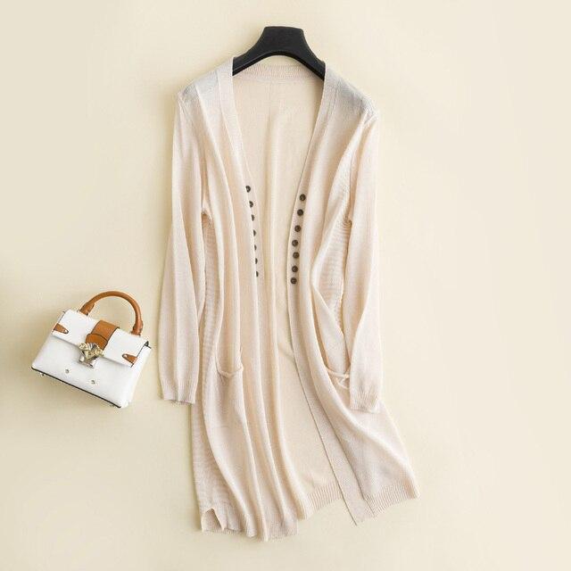 18 Mùa Hè Mới của Phụ Nữ V-Cổ Cardigan Thời Trang Ice Silk Linen Khăn Choàng Đôi Ngực Điều Hòa Không Khí Lỏng Sun Áo Bảo Vệ