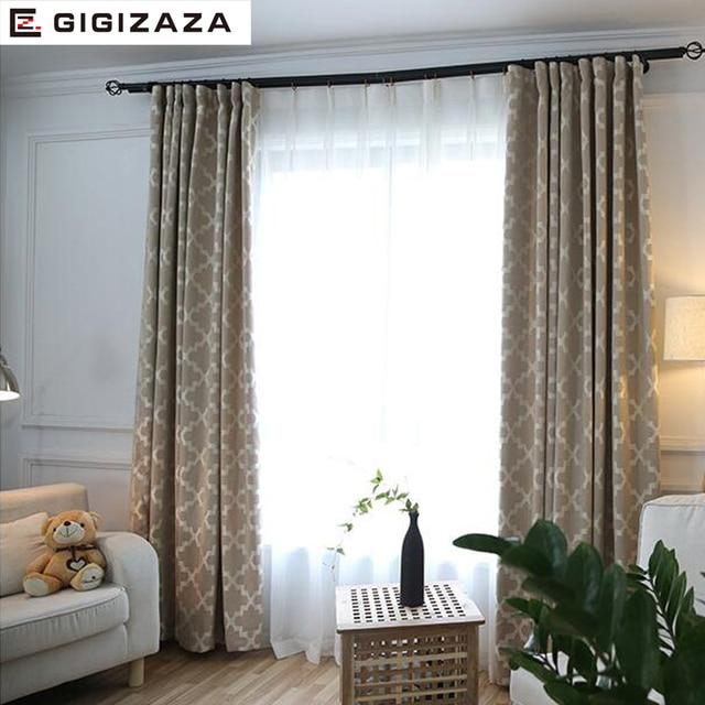 GA Nouveau Géométrique imprimer stores tissu rideau pour salon gris ...