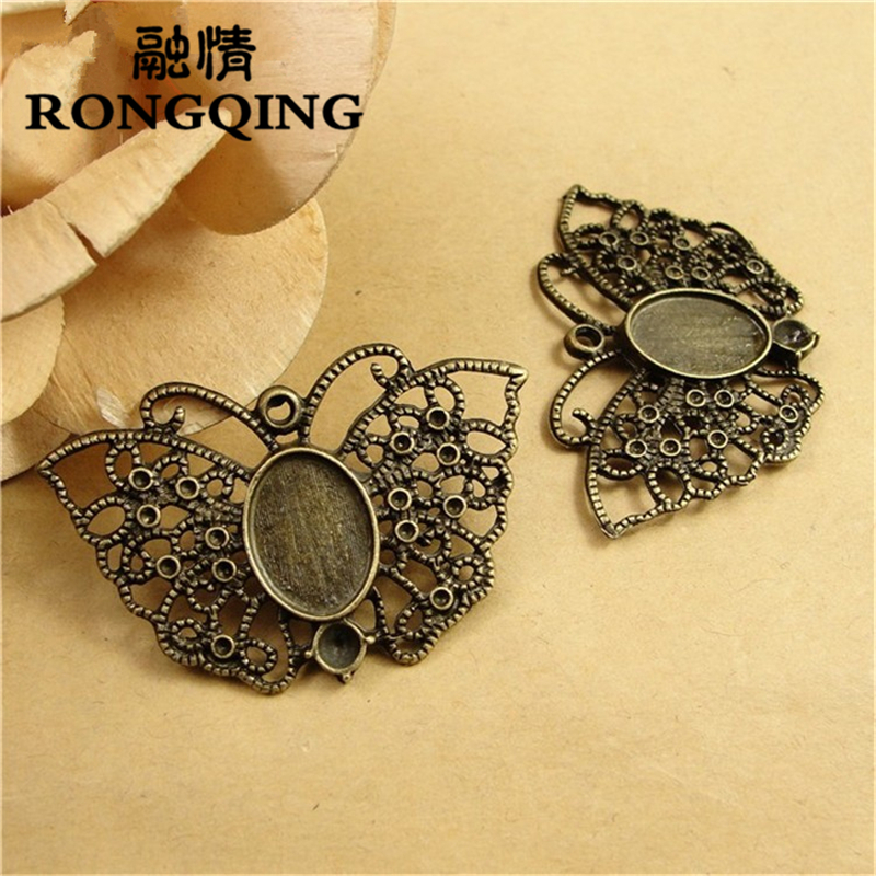 60pcs/lot Hollow Butterfly Pendant Jewelry Accessories Lace Pattern Animal Cabochon Base 14*10MM Handmade Crafts