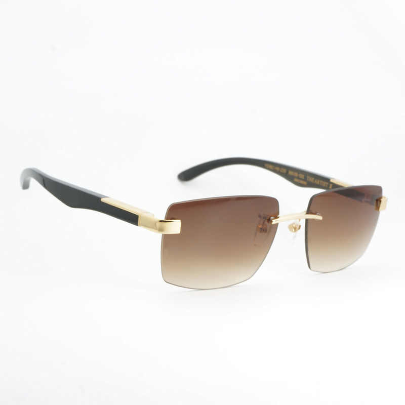 590efbb0ddc60 Fashion Buffalo Horn Sunglasses Men Luxury Rimless Sun Glasses Frame for  Club and Driving Square Shades