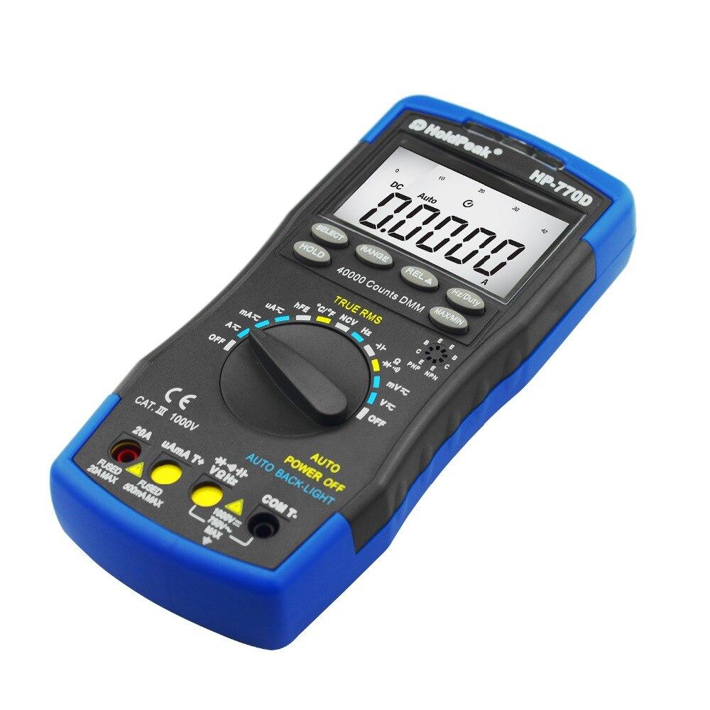 Multímetro Digital de HoldPeak HP 770D rango automático de alta precisión True RMS 40000 cuentas NCV corriente de voltaje CC ohmios probador - 4