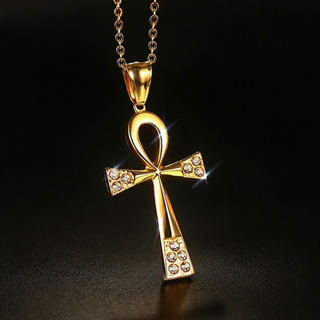 Womens Necklaces Eternity Egyptian Ankh Cross Religious With Cubic