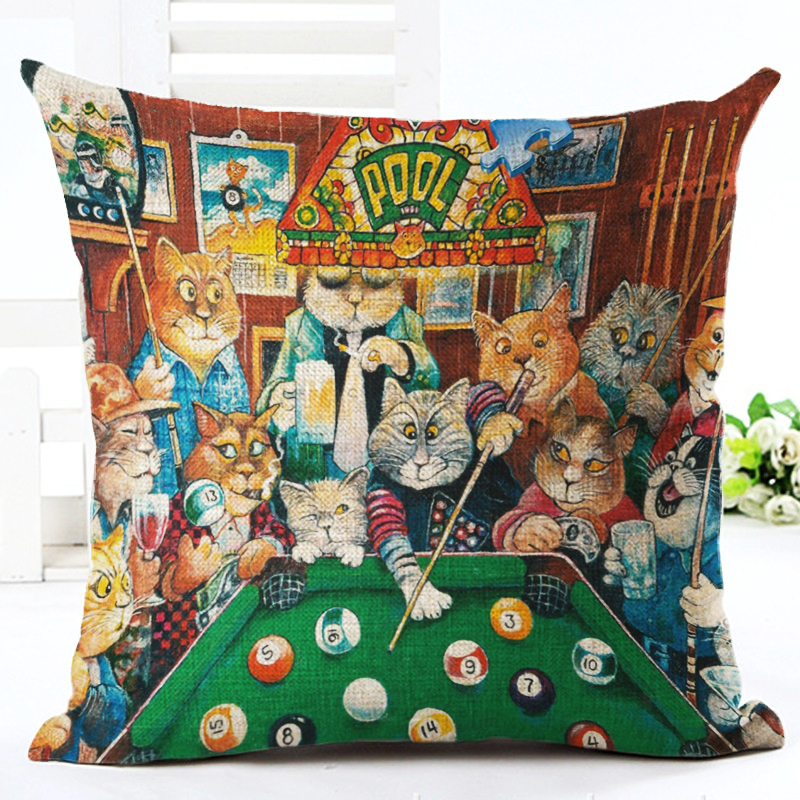 2016 High Quality 45x45 Creative Cartoon cat Houseware Cojines Chair Cushion Almofadas Cotton Linen Square