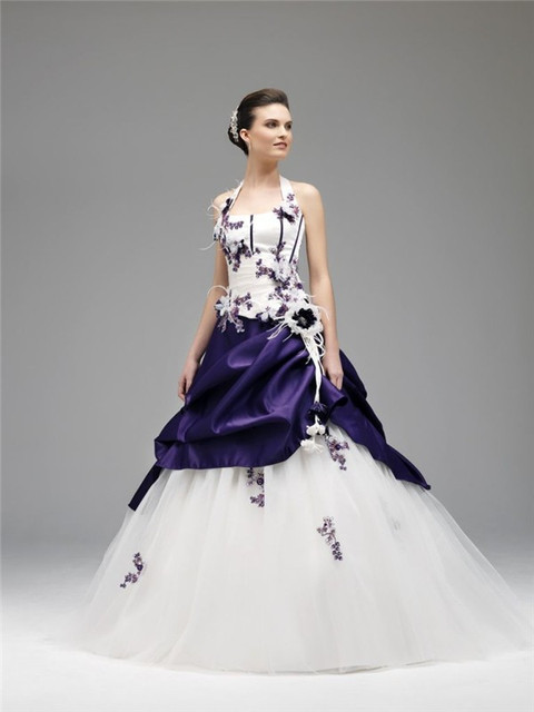 Hot Sale White And Purple Wedding Dress Beads Appliques Long Bridal ...
