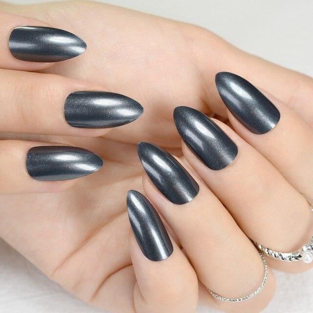 Shiny Short Stiletto Nails Dark Grey Acrylic False Nail Pointed DIY Art Manicure Product 24Pcs