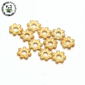LightGold Plated Alloy Flower Daisy Bead Spacers, Golden, 4.5x1mm, Hole: 1mm