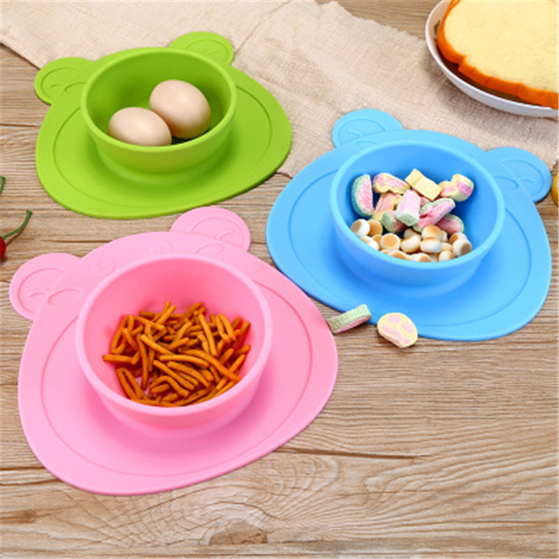 Ideacherry Infants Ellipse Silicone Feeding Food Plate Tray Dishes Food Holder For Baby Toddler More Color Bear Anti-slip Dishes