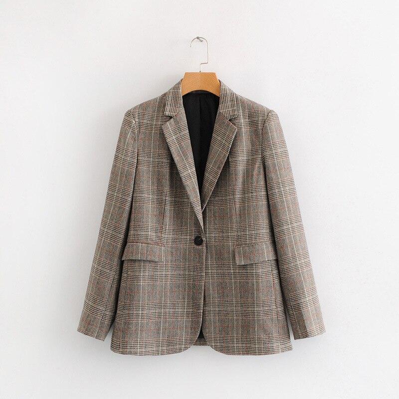 Plaid Vintage tweed Ladies Blazer 2019 Single Button Women Suits plus size coat WT07