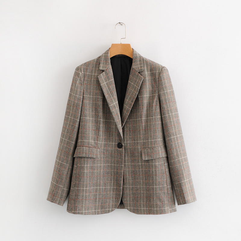 Plaid Vintage tweed dames Blazer 2019 bouton unique femmes costumes manteau grande taille WT07-in Blazers from Mode Femme et Accessoires on AliExpress - 11.11_Double 11_Singles' Day 1