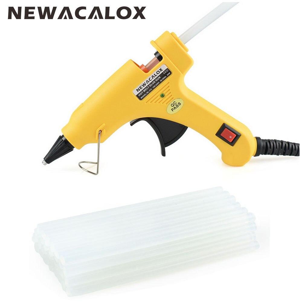 NEWACALOX 20 W EU/US Plug Hot Melt Glue Gun con 20 pz 7mm Colla Stick Industriale Mini Pistole Termo Gluegun Temperatura di Calore strumento