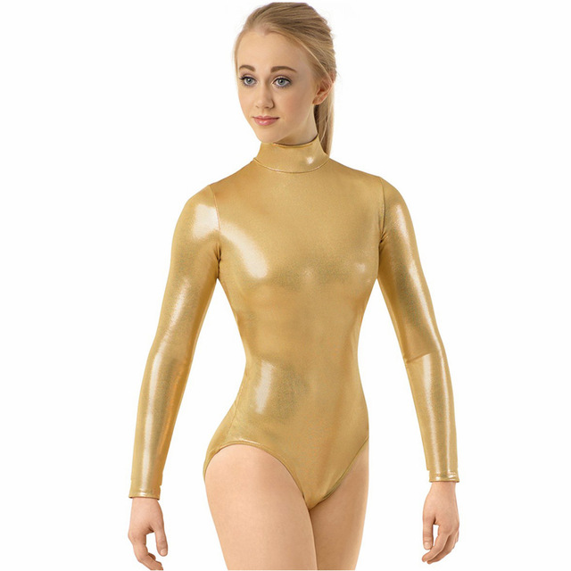 Girls Long Sleeve Metallic Mock Neck Leotard For Women Gymnastics Ballet Dance Leotards Shiny Zip Stage Performance Zip Leotard