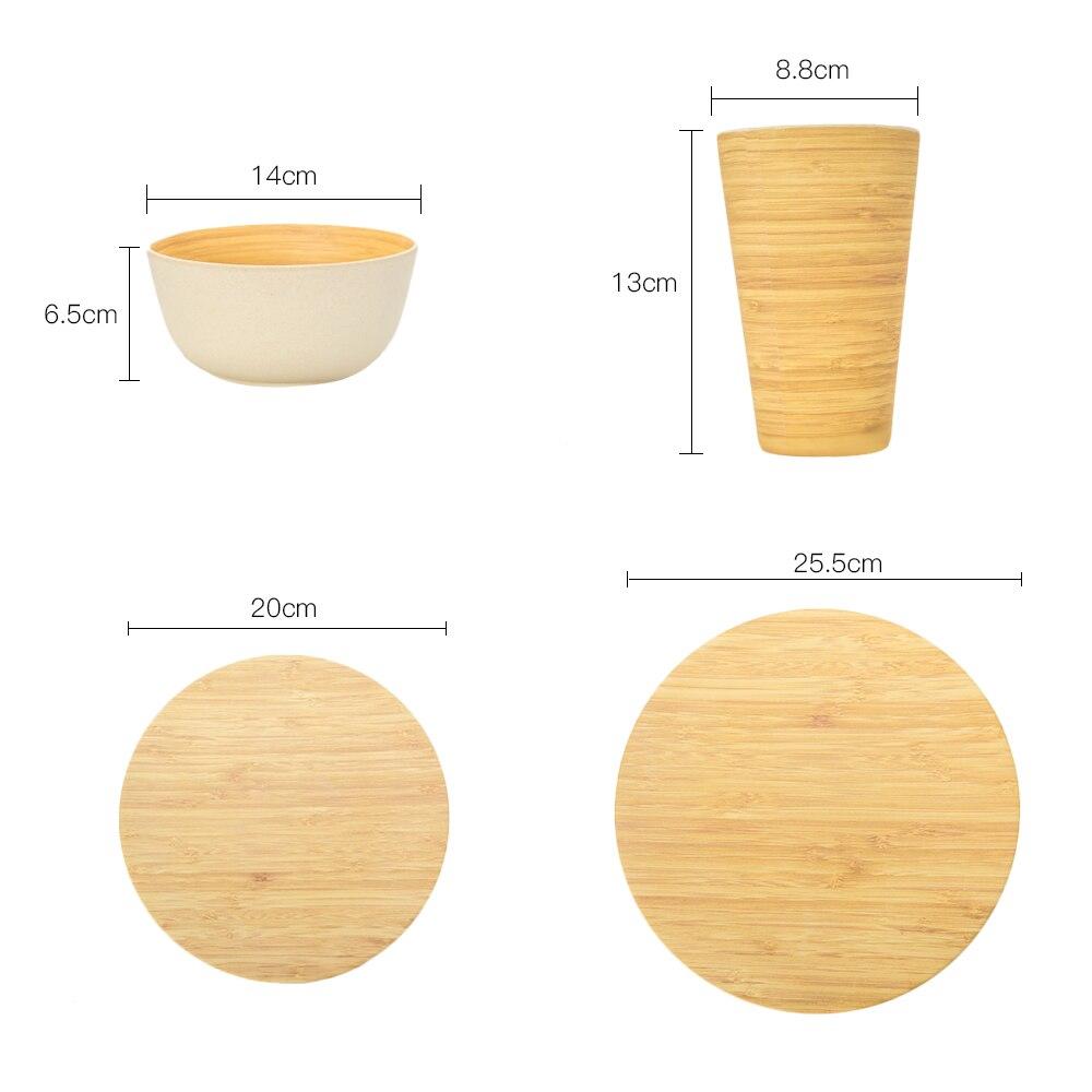 4 Pcs/Set Tableware Set Bamboo pattern 1