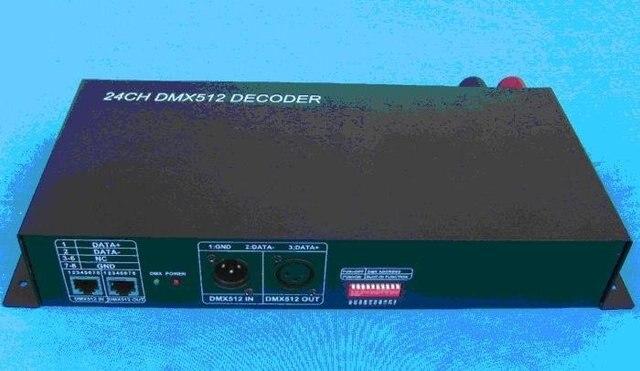24 channel DMX512 Decoder;DC12-25V input;Max 3A each channel output;P/N:KL-DMXCON-8*3CH-LV