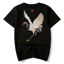 Summer new explosive Chinese fashion brand retro national style cotton embroidery crane mens  short sleeves loose