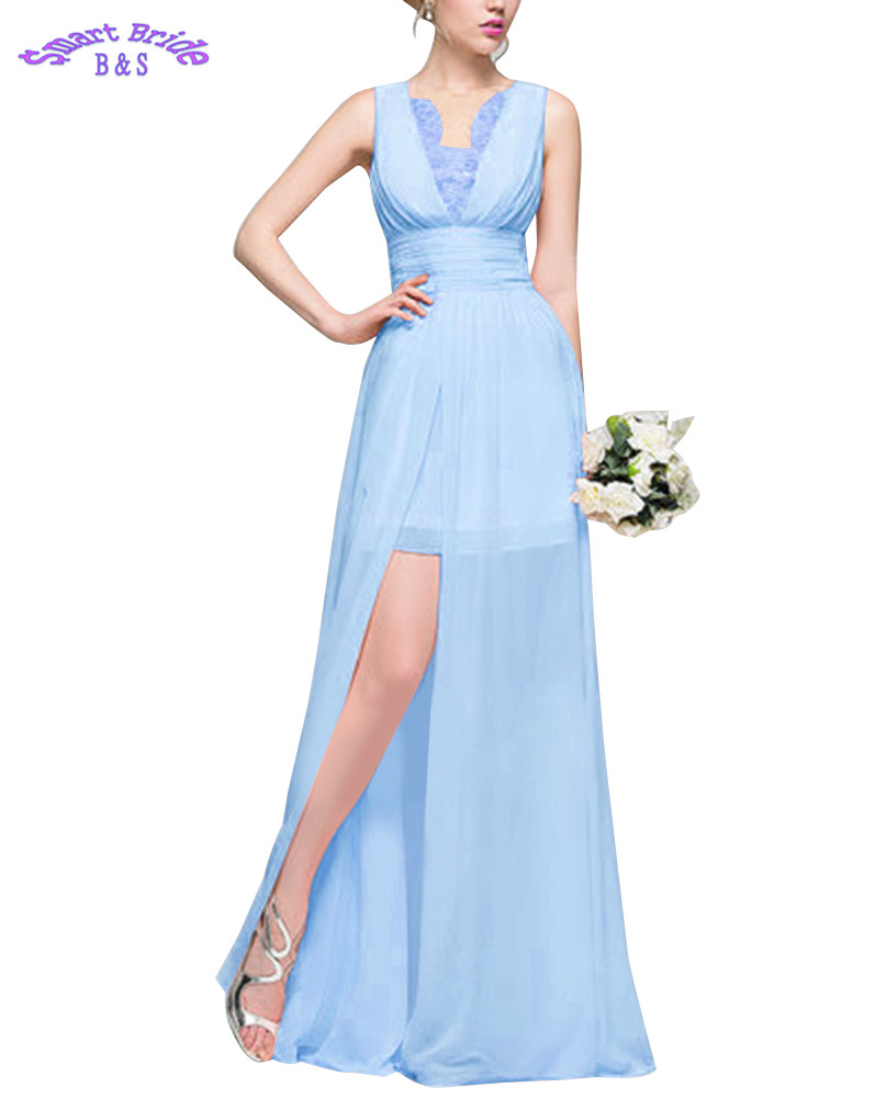 Bridesmaid Dresses Buy Cheap Lace Bridesmaid Dresses 2019 V-neck A Line Long Chiffon Skirts Split Beach Maxi Wedding Party Gowns For Women Formal Bdv7 Wedding Party Dress