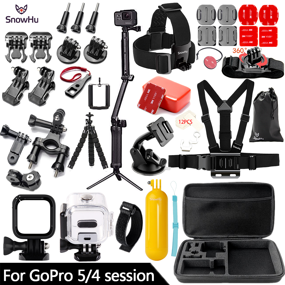 SnowHu for Gopro Hero 5 / 4 Session Accessories Set Tripod 3 Way Monopod for Go pro hero 5 Session 4 Session Action Camera ZH70