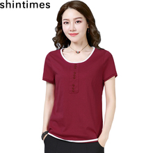 shintimes O-Neck Patchwork Button T Shirt Women Tops 2019 Summer Fashion Short Sleeve Women Tshirt Loose Casual Tee Shirt Femme недорого